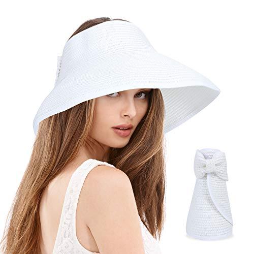 Cappello di Paglia Donna Sole - Cappello Tesa Larga Regolabile,Cappellino con Bowknot Fiocco Grande Visiera da Spiaggia Ampio per Anti-UV Passeggiata (Bianco Puro)