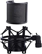 Microphone Shock Mount with Pop Filter, Mic Anti-Vibration Suspension Shock Mount Holder Clip for Diameter 46mm-53mm Microphone