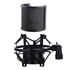 Package include Microphone Shock Mount + Pop Filter,and come with one free universal connector adaper,Combination with these two making your broadcast or singing voice sounds more pleasant. Perfect with microphone suspension boom scissor arm stand Po...
