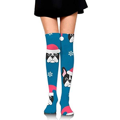 Juziwen Long Socks French Bulldogs with Santa Compression Socks for Men & Women...