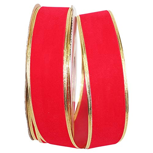 Reliant Ribbon 3710R-619-09K Velvet Proof Pp Regal Wired Edge Band, Medium Rot/Gold, 1-1/2 Inch X 50 Yards