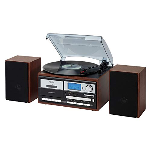 Jensen JTA-575W All-in-One Modern Home Record Player Stereo 3-Speed Turntable Music System Multimedia Center + CD/MP3, USB/SD Encoding AM/FM Cassette Player/Recorder + Remote Wooden Speakers (Walnut)