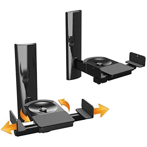 RICOO LH023-B, Universale Lautsprecher Wand-Halterung, 2 Stück Boxen-Halter max. 25Kg, Schwenkbar Neigbar, WLAN Airplay Speaker Wall-Mount, Schwarz