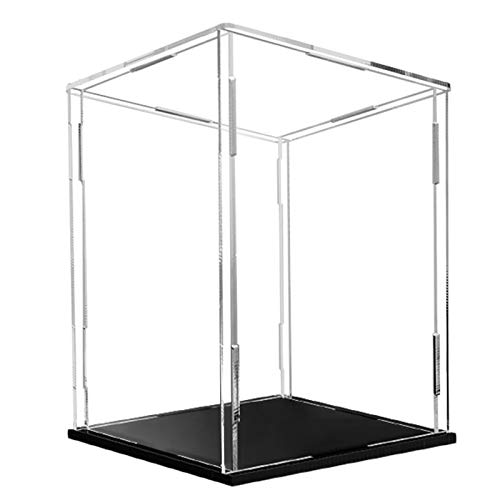 Clear Acrylic Display Case - Assembly Dustproof Showcase - Cube Countertop Box Stand Riser for Toys Collectibles (5.9x5.9x9.8in)