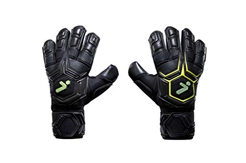 Storelli Gladiator Pro 3.0 Goalkeeper Gloves | Professional Soccer Goalie Gloves with Finger Spines | Superior Finger and Hand Protection | Black & Yellow | Size 9