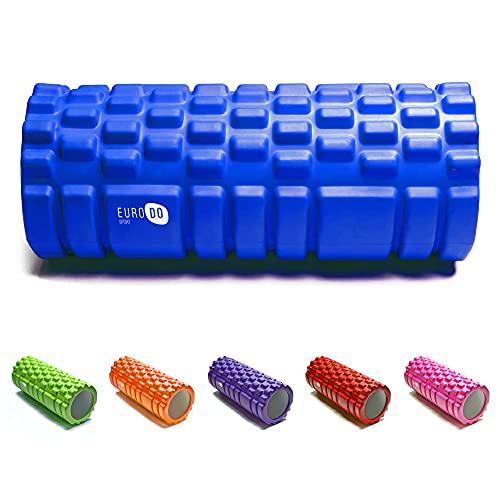 EURODO Rodillo de Espuma para Terapia de Masaje - Foam Roller - Cilindro para Masajes Musculares, Espalda, Fitness, Pilates, Yoga (Azul)