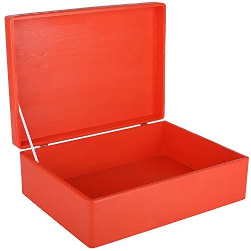Creative DECO XL Roja Grande Caja Madera Decorativa Almacenaje | 40 x 30 x 14 cm (+/-1cm) | con Tapa | Cofre para Decorar Regalo Decoupage | Juguetes, Documentos, Objetos de Valor, Herramientas
