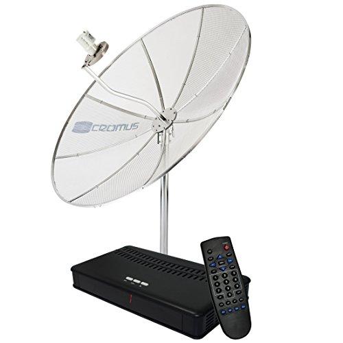 'Antena Parabólica 1,70 m + LNBF Monoponto + Receptor Analógico CR1500Slim - Cromus'