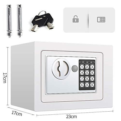 Tresor 23x17x17cm Wandtresore Möbeltresor Eisenstahl Elektronischer Safe mit Zahlenschloss und Schlüssel, Doppelstahlbolzen für Tresor Wandmontage - Weiß
