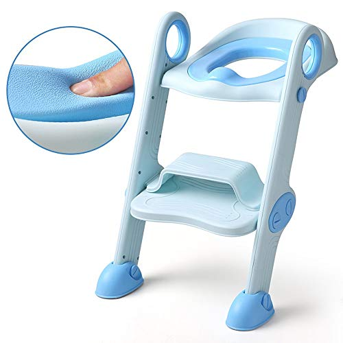 Jiamuxiangsi- Getretenes Baby-WC-WC-WC-Leiter Mädchen Baby Kid Boy Potty Sitzbezug Abdeckung Ring Leiter Schritt Töpfchen WC-Sitz (Farbe : Blau, Ausgabe : B)