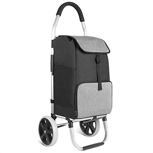 Inateck Einkaufstrolley mit großer Ladekapazität und Wärmedämmungstasche, leichte Einkaufstasche mit Rollen, Max. Belastbarkeit 45 kg, 45L, Schwarz