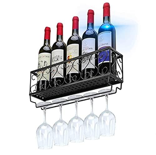 Botellero de Montaje en Pared, Estante de exhibición de Almacenamiento de Vino rústico de Madera para decoración de Cocina Comedor Bar hogar y Cocina
