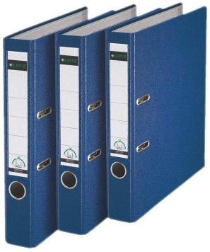 Leitz 310345035 Qualitäts-Ordner Plastik-Cover (A4, 5,2 cm Rückenbreite, 3er-Pack) blau