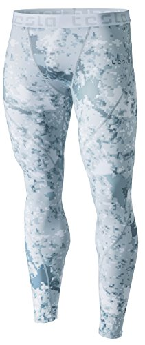 TSLA Mens Compression Pants Running Tights Workout Leggings, Cool Dry Performance Boosting Baselayer, Athletic(mup19) - Pixel Camo Grey, Small