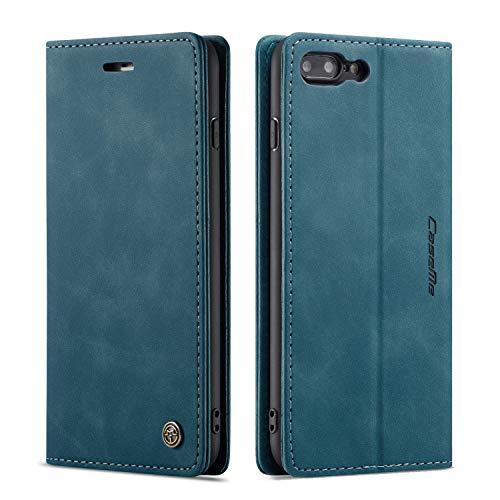 QLTYPRI Hülle für iPhone 6 6S, Vintage Dünne Handyhülle mit Kartenfach Geld Slot Ständer PU Ledertasche TPU Bumper Flip Schutzhülle Kompatibel mit iPhone 6 6S - Blau