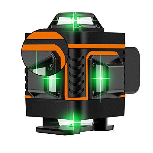 NaiCasy 16 líneas láser 4d Nivel de energía Auto-nivelación, 360 Fuerte Nivel de energía láser Verde súper Transversal Horizontal y Vertical (Naranja)
