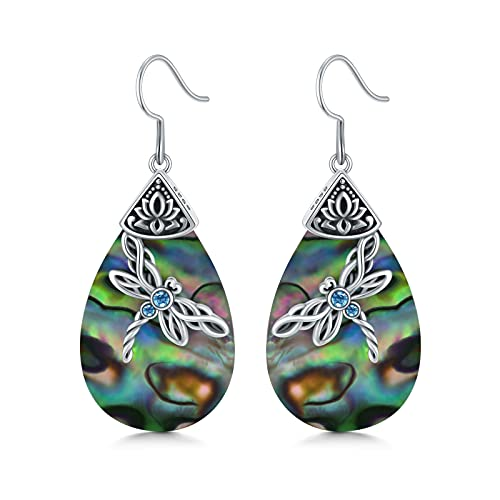 Sterling Silver Celtic Dragonfly Dangle Drop Earrings, Celtic Jewelry Birthday Gifts for Women Her Wife Mom (Abalone Shell)