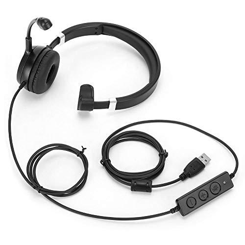 FastUU Kabelgebundenes Callcenter-Kommunikations-Headset, USB-Telefonist Kopfhörer HD-Sprachcomputer-Headset für Büro, Online-Chat, Online-Unterricht