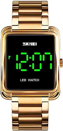 YQCH Relojes para Hombre Reloj Digital Minimalista LED de retroiluminación de Acero Inoxidable Reloj de Pulsera de Negocios (Color : Gold)