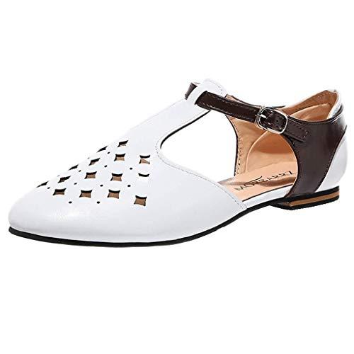 T-shao Sandalias De Verano Sandalias De Punta Estrecha para Mujer Retro Hebilla Blend Sandalias Huecas Zapatos Planos Fiesta Trabajo Ocio Zapatos Individuales (Color : Blanco, Size : 42 EU)