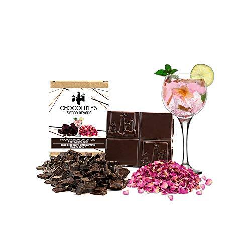 Tableta de chocolate negro con gin tonic y pétalos de rosa 75gr