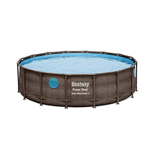 Bestway - Piscine tubulaire ronde avec Hublots - Ø488 cm x H122 cm - Power Steel Vista - Aspect Tressé/Rotin - 19 480 L Litres d'eau
