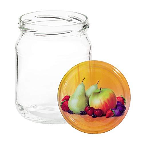 Van Well 12er Set Einkochgläser 500 ml Sturzglas Herbst Apfel Deckel incl. Rezeptheft | Einmachgläser für Obst & Marmelade | Einweckgläser Gläser