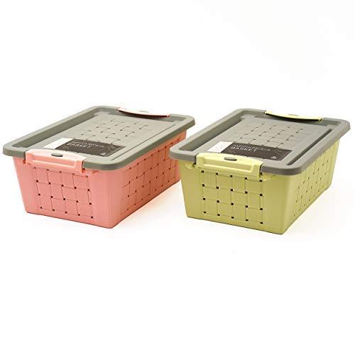 2 PiecePlastic Air Tight Waving Rattan Storage Shelf Basket With Lid