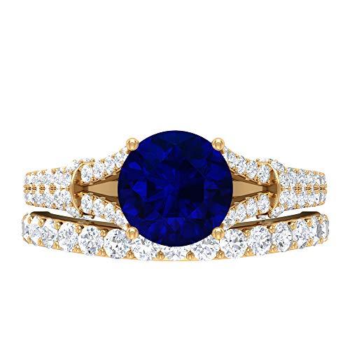 Conjunto de anillos de novia solitario, piedras preciosas redondas de 3,23 quilates, D-VSSI azul zafiro 8 mm aguamarina anillo de compromiso, banda de media eternidad, 14K Oro amarillo, Size:EU 59