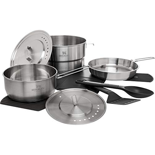Stanley Even Heat Camp Pro Cookset, 11-Piece Camping Cookware Set with Stainless Steel Pots and Pans, Utensils, Lids, and Cooking Accessories, Outdoor Travel Kit for Backpacking, Hiking, and Fishing