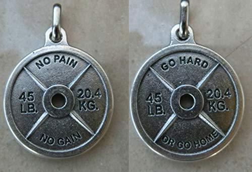 Go Hard OR Go Home Ciondolo Pendente Disco GHISA No Pain No Gain Bodybuilding Gym Palestra Crossfit Fitness