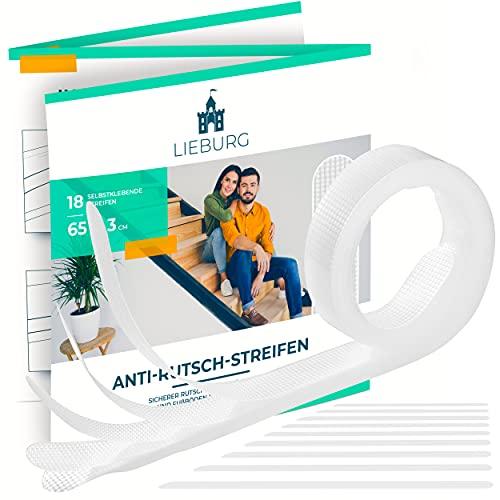 Lieburg Anti Rutsch Streifen Treppe [bombenfester Halt] - 18x transparente Streifen - für alle glatten Oberflächen - Treppenstufen Antirutsch Treppe Rutschschutz Anti-Slip Sticker Anti-Rutsch Tape
