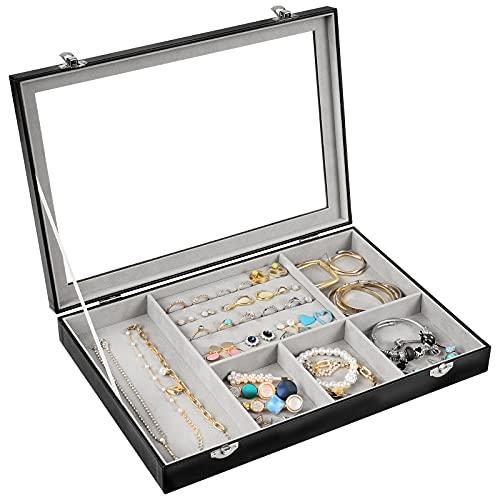 Procase Bandeja Joyas Caja Joyero, Expositor de Joyas y Tapa de Vidrio 6 Compartimentos de Gran Capacidad para Collares, Brazaletes, Pendientes y Relojes -Negro