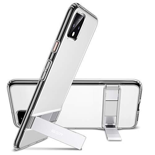 ESR Ständer Hülle kompatibel mit Google Pixel 4 XL Hülle - Flexible TPU Handyhülle für Google Pixel 4 XL - Schutzhülle mit Vertikalem & Horizontalem Metallständer - Klar