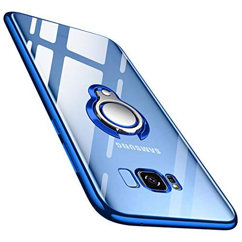 Samsung Galaxy S8 Hülle Silikon TPU Slim Case mit 360 Grad Ring Ständer Bumper Handyhülle Fingerhalter Magnetische Autohalterung Anti-Fingerabdruck Transparent Schutzhülle Cover für 5.8 Zoll,Blue