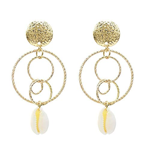 Pendientes simples exagerados de estilo europeo y americano, pendientes de perlas con forma de círculo grande, pendientes de concha-B