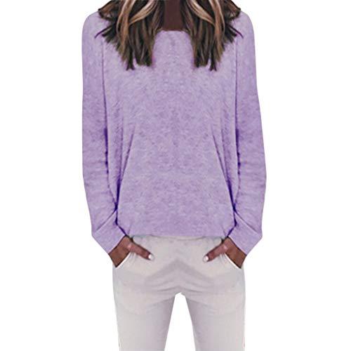 BeautyTop rpulli Oberteile kaufen Damen Langarmshirt weiß Bluse lila leinenhemd Herren Kurzarm Damen Baumwollpullover Pullover Herren Kapuze geschnürter Ausschnitt Oberteil Bluse weiß Damen