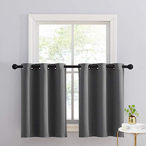 NICETOWN Kitchen Curtains for Small Window, Grey Short Blackout Thermal Insulated Panels with Grommet Top Set of 2, W34 x L36-inch + 1.2 inches Header