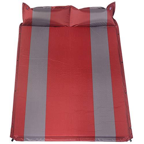 MATPAD Tapis de Couchage Double gonflage Automatique Tapis de Sommeil Coussinets en éponge en Cuir de Camping résistant à l'humidité en Cuir, 193 * 132 * 3cm (Rouge)