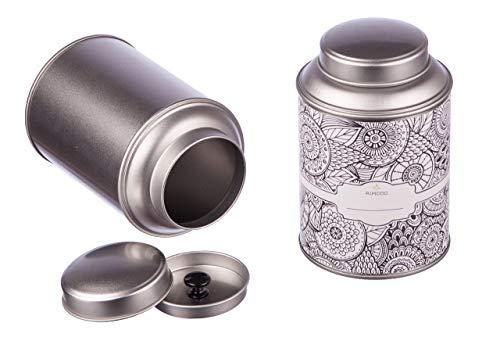 4 große Teedosen für losen Tee mit extra Aromadeckel inkl. Etiketten | stapelbar | Höhe: ca. 13,9 cm, Ø ca. 8,7 cm (für ca. 100g - 150g Tee) | Material: Weißblech | BPA-frei und lebensmittelecht