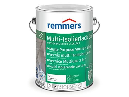 Remmers Multi Isolierlack 3in1 weiß (RAL 9016), 2,5 Liter, wasserbasierte Lackfarbe für Holz, Zink, Aluminium, PVC, für innen und außen, 3 Produkte in einem