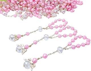 25 Pc Pink Color Baptism Favors with Angels Mini Rosaries Gold Plated Acrylic Beads/Recuerditos De Bautismo/Christening Favors/Decenarios/Decades/Finger Rosaries