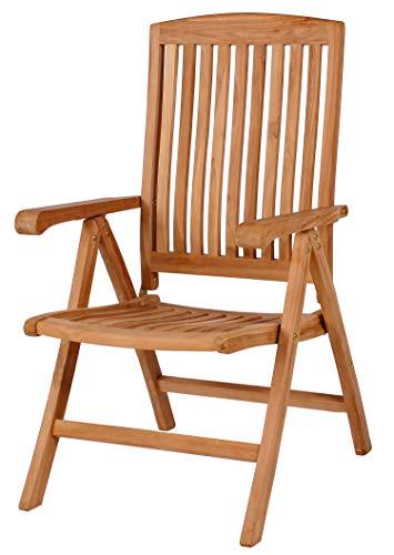 Mr. Deko Teak Klappsessel Belford - Teak - Bear Chair - Stuhl - Sessel - Relaxliege - Gartenliege - Outdoormöbel - Teakholz - für Balkon, Terrasse, Wintergarten,Garten