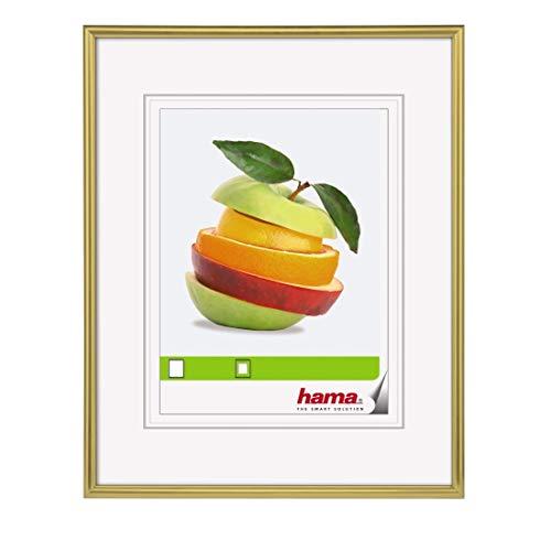 Hama Sevilla Bilderrahmen, DIN A4 (21 x 29,7 cm) mit Passepartout 15 x 20 cm, hochwertiges Glas, Kunststoff Rahmen, zum Aufhängen, gold