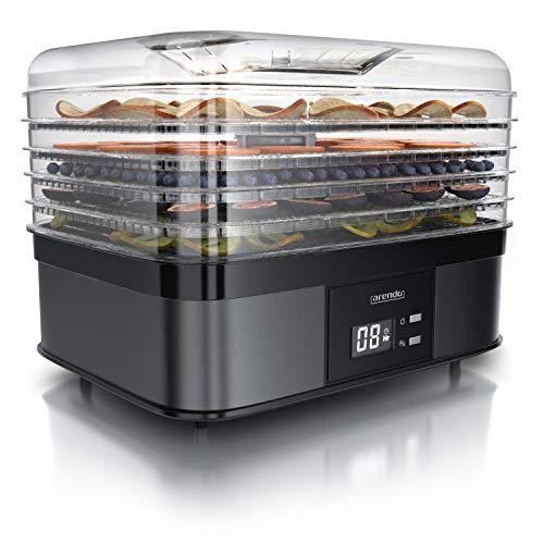 Arendo - Dörrautomat mit Temperaturregler 350 Watt - Edelstahl Dörrgerät für Lebensmittel Fleisch Früchte Gemüse - 40-70 Grad - 5 Einlegefächer - GS Zertifiziert - Dehydrator - BPA frei
