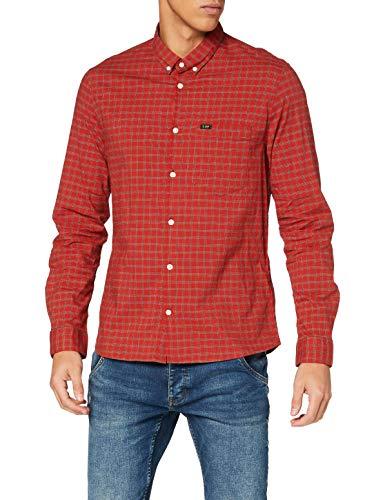 Lee Slim Button Down Shirt, Rojo Ocre, M para Hombre