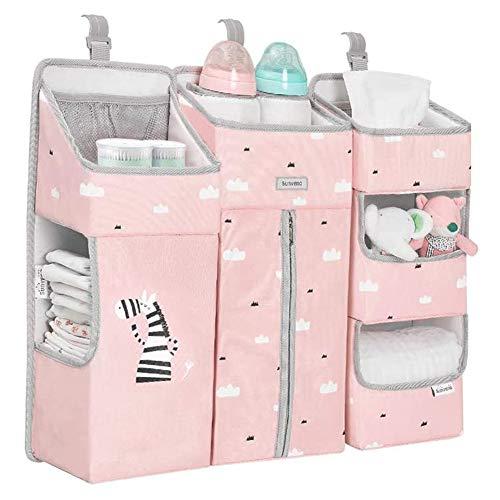 Mr.LQ 3-i-1 babyblöja hängande förvaringsbox vattentät, avtagbar babyvaraväska multifunktionell hängande förvaringsväska sängbord förvaringsväska blöja våt rackväska