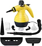 Comforday Multi-Purpose Handheld Pressurized Steam Cleaner with 9-Piece Accessory Kit for Multi-Surface Stain Removal, Floor Steamer, Window, Counters, Carpets, Curtains, Car Seats, Upholstery & Much More (Yellow)