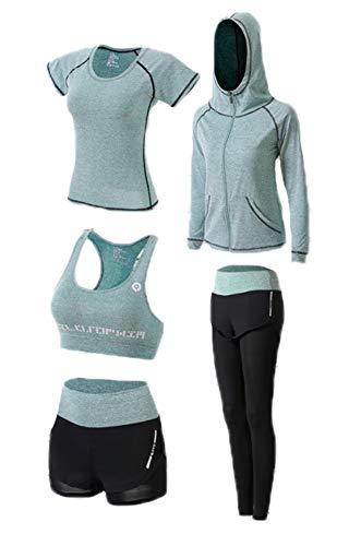 huateng Yoga-Anzug-Set, Damen 5 Stück Laufanzug Gym Outfit Workout Sportbekleidung, Fitnesstraining Set