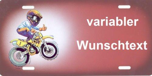 Lustiges Funschild und Namensschild Motocross selbst Gestalten und Bedrucken lassen ✓ Witterungsbeständig ✓ Farbecht ✓ Ideale Geschenkidee | Metallschild, Aluminium-Schild als individuelles Motorrad-Accessoire und Motocross-Zubehör | Aluschild, Kennz